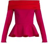 Emilio De La Morena Tasman bi-colour silk-blend peplum top