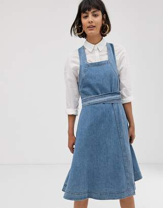 Selected square neck denim midi dress-Blue