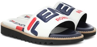 Fendi Kids FENDI MANIA leather slides