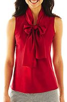 JCPenney 9 & Co.® Solid Bow-Neck Blouse
