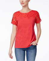 Charter Club Petite Crochet-Detail Cotton Top, Only at Macy's