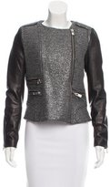 Maje Tweed Leather-Accented Jacket
