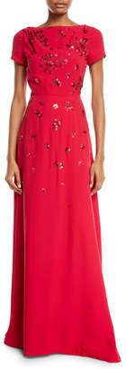 Carolina Herrera Short-Sleeve Floral-Sequined Gown