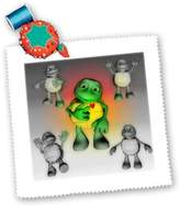 3dRose LLC qs_165232_10 Renderly Yours Toons - Toon Turtle Shows His Heart - Quilt Squares