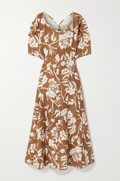 Mara Hoffman + Net Sustain Sicily Floral-print Hemp Midi Dress - Brown