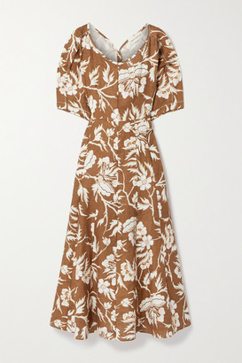 Mara Hoffman + Net Sustain Sicily Floral-print Hemp Midi Dress - Brown