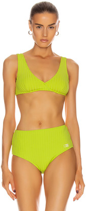 Solid & Striped Beverly Bikini Top in Chartreuse Rib | FWRD