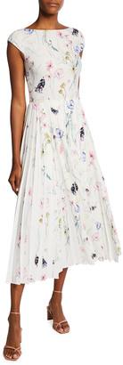 Jason Wu Collection Floral Printed Cap-Sleeve Crepe Midi Dress