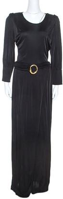 Class by Roberto Cavalli Black Jersey Belted Maxi Dress M