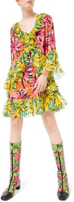 Michael Kors Sprint-Sunflower Georgette Ruffled Flare Sleeve Dress