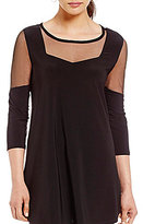 IC Collection Boat Neck Mesh Insert Loose Top