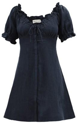 Casa Raki - Valentina Puffed-sleeve Linen Dress - Womens - Navy