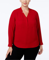 Nine West Plus Size Long-Sleeve Crepe Top