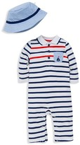 Little Me Infant Boys' Striped Sailboat Coverall & Hat Set - Sizes 3-9 Months