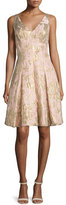 Aidan Mattox Sleeveless Floral Jacquard Party Dress, Petal