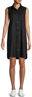 Pure Navy Sleeveless Linen Shirtdress