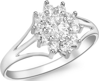 Love Gold 9ct White Gold Cubic Zirconia Flower Cluster Ring