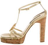 Roberto Cavalli Metallic Leather Sandals
