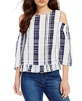 Buffalo David Bitton Plaid Cold Shoulder Blouse