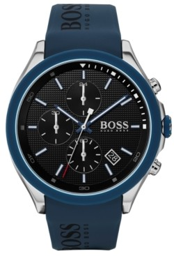 BOSS Men's Chronograph Velocity Blue Silicone Strap Watch 45mm