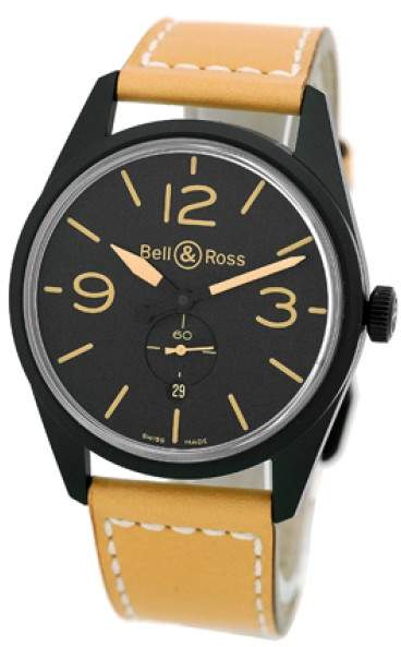 "Bell & Ross BR 123"" Black Carbon Finish Stainless Steel Vintage Heritage Strap Watch"