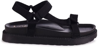 Linzi EBONY - Black Trekky Sandals With Velcro Straps