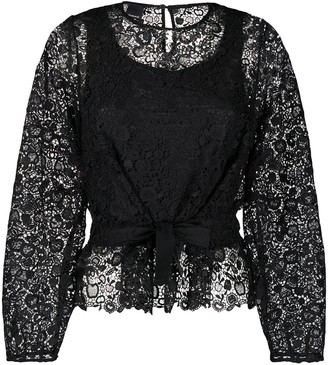 Pinko Tie Front Lace Blouse