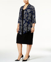 Connected Plus Size Layered-Look Printed Jacket Dress