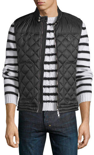 Moncler Rod Quilted Nylon Moto Vest, Black