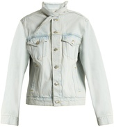 Balenciaga Neck-tie cotton-denim jacket