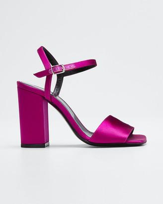 Dries Van Noten Strappy Satin Ankle Sandals