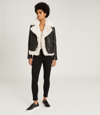 Reiss NOLAN LEATHER BIKER JACKET WITH SHEARLING GILET Black