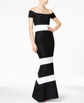 Xscape Evenings Glitter Striped Off-The-Shoulder Gown