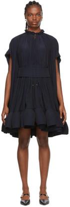 Lanvin Navy Ruffle Dress