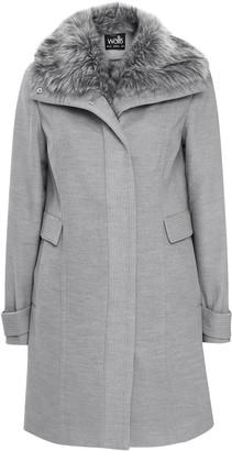 Wallis Grey Faux Fur Collar Funnel Coat