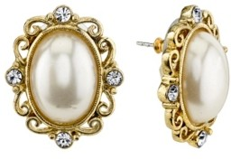 Downton Abbey Simulated Imitation Pearl and Crystal Oval Button Earring