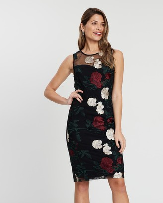 Montique - Women's Black Midi Dresses - Isadora Embroidered Shift Dress - Size One Size, 8 at The Iconic