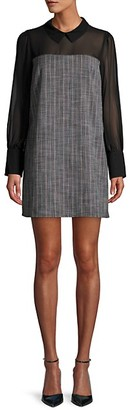 BCBGeneration Long-Sleeve Mesh Shift Dress