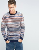 Benetton Crew Neck Sweater with Patterned Stripes