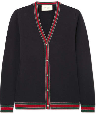 Gucci Striped Wool Blend-trimmed Wool Cardigan - Navy