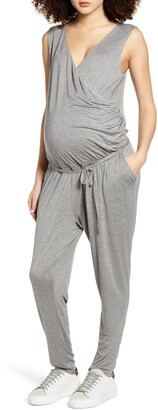 Fourteenth Place Belted Jersey Maternity Jumpsuit