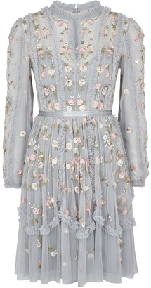 Needle & Thread Wallflower blue embroidered tulle dress