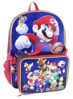"Nintendo 12"" Super Mario Kids Backpack with Detachable Lunch Kit - Blue"