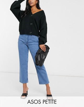 ASOS DESIGN Petite high rise 'slim' stretch straight leg jeans in brightwash