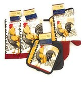 Home Collection Rooster Kitchen Decor Bundle With Potholders, Oven Mitt And Dish Towels