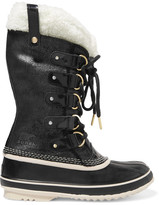 Sorel Joan Of Arctic Waterproof Shearling-trimmed Leather Boots - Black