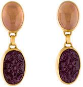 Gurhan 24K Rose Quartz & Ruby Drop Earrings
