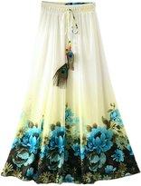 Aivtalk Women's A-line Midi Skirt Ladies Chiffon Printing High Waist Midi Maxi Skirt