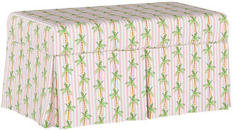 Gray Malin X Cloth & Company Palm Tree Stripe Storage Bench - Pink - pink/green/multi