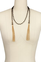 Saachi Black Beaded Chain Lariat Necklace